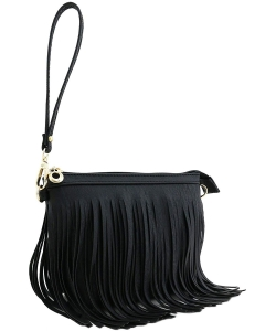 Faux Leather Fringe Hand Bag E091 BLACK