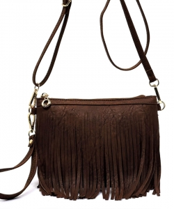 Faux Leather Fringe Hand Bag E091 COFFEE