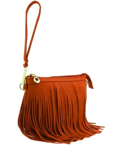 Small Fringe Crossbody Bag with Wrist Strap E091 ORANGE