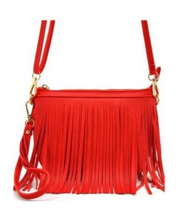 Faux Leather Fringe Hand Bag E091 WATERMELON
