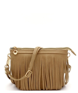 Small Fringe Crossbody Bag with Wrist Strap E091 STONE