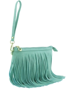 Small Fringe Crossbody Bag with Wrist Strap E091 TURQUIOSE