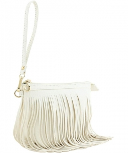 Faux Leather Fringe Hand Bag E091 WHITE