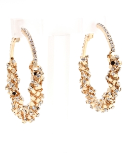 Sparkly Resin Rhinestone Wrapped Fashion Hoop Earring EH300008 GOLD