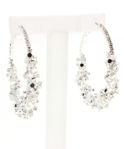 Sparkly Resin Rhinestone Wrapped Fashion Hoop Earring EH300008 SILVER