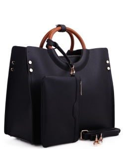 "Wood Handle Trendy "" 2 In 1 "" Fashion Bag EM1853 BLACK"