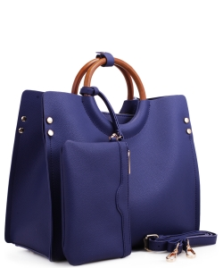 "Wood Handle Trendy "" 2 In 1 "" Fashion Bag EM1853 NAVY"