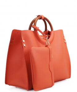 "Wood Handle Trendy "" 2 In 1 "" Fashion Bag EM1853 ORANGE"