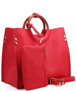 "Wood Handle Trendy "" 2 In 1 "" Fashion Bag EM1853 RED"