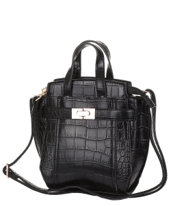 Crocodile SKin Top Handle Satchel Crossbody Bag ES-100 BLACK