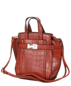 Crocodile SKin Top Handle Satchel Crossbody Bag ES-100 CAMEL