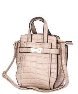 Crocodile SKin Top Handle Satchel Crossbody Bag ES-100 KHAKI