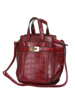 Crocodile SKin Top Handle Satchel Crossbody Bag ES-100 RED