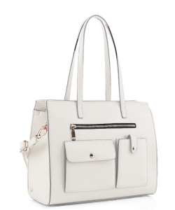 Fashion Faux Leather Handbag ES-3848 WHITE
