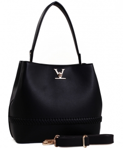 Fashion Logo Accented Tote Handbag With Long Strap ES-1571 BLACK