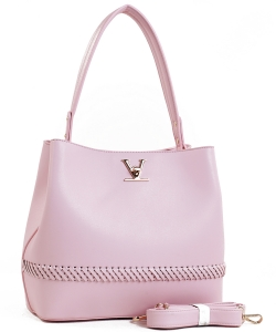 Fashion Logo Accented Tote Handbag With Long Strap ES-1571 BLUSH