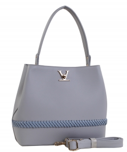 Fashion Logo Accented Tote Handbag With Long Strap ES-1571 GRAY