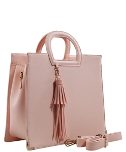 Fashion Logo Accented Tote Handbag With Long Strap ES-1703 BLUSH