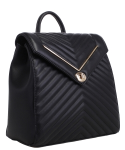 Chevron Pattern Quilted Turn-Lock Fashion Backpack ES1708 BLACK