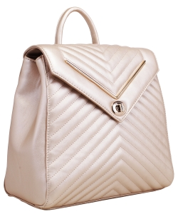 Chevron Pattern Quilted Turn-Lock Fashion Backpack ES1708 GOLD