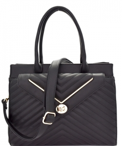 Chevron Pattern Quilted Turn-Lock Structured Satchel ES1709 BLACK