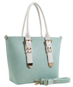 Fashion  Accented Tote Handbag With Long Strap ES1714 MINT