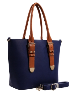 Fashion  Accented Tote Handbag With Long Strap ES1714 RBLUE