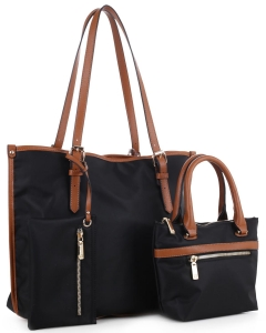 Faux Leather Nylon Tote Handbag with Messager Bag ES3165 BLACK/BROWN