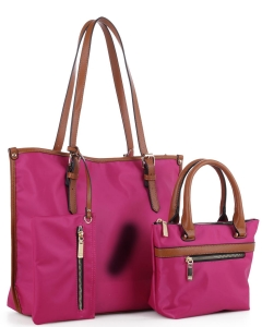 Faux Leather Nylon Tote Handbag with Messager Bag ES3165 FUSHIA/BROWN