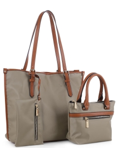 Faux Leather Nylon Tote Handbag with Messager Bag ES3165 KHAKI/BROWN