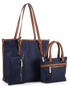 Faux Leather Nylon Tote Handbag with Messager Bag ES3165 NAVY/BROWN