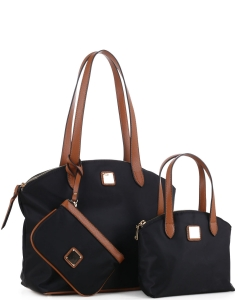 Faux Leather Nylon Tote Handbag with Messager Bag ES3166 BLACK/BROWN