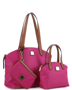 Faux Leather Nylon Tote Handbag with Messager Bag ES3166 FUSHIA/BROWN
