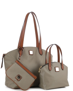 Faux Leather Nylon Tote Handbag with Messager Bag ES3166 KHAKI/BROWN