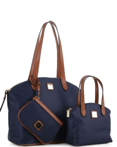 Faux Leather Nylon Tote Handbag with Messager Bag ES3166 NAVY/BROWN