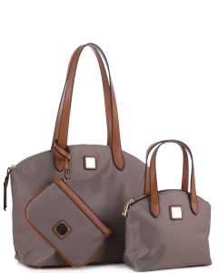 Faux Leather Nylon Tote Handbag with Messager Bag ES3166 STONE/BROWN