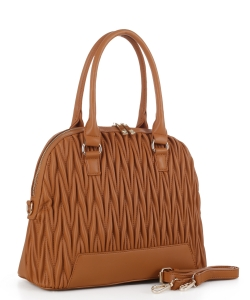 Chevron Quilted Dome Satchel ES3351 BROWN