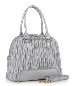 Chevron Quilted Dome Satchel ES3351 SILVER