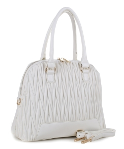 Chevron Quilted Dome Satchel ES3351 WHITE