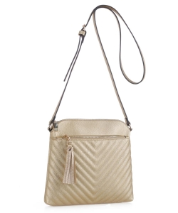 Chevron Quilted Crossbody Bag EW2353 GOLD