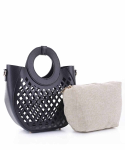 Laser-Cut Mesh 2-in-1 Satchel FC20105 BLACK