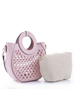 Laser-Cut Mesh 2-in-1 Satchel FC20105 BLUSH
