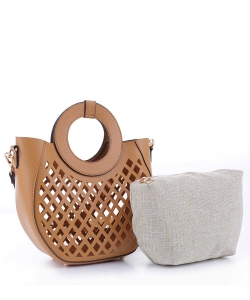 Laser-Cut Mesh 2-in-1 Satchel FC20105 TAN