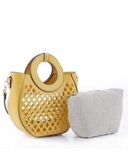 Laser-Cut Mesh 2-in-1 Satchel FC20105 YELLOW