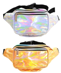 Package of 6pcs Metallic Hologram Fanny Pack Waist Bag FA0006 GOLD and SILVER