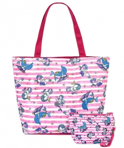 Flower Printed Canvas 2 in 1 Beach Tote FC00696