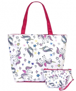 Flower Printed Canvas 2 in 1 Beach Tote FC00695