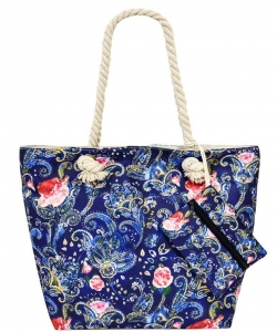 Flower Printed Canvas 2 in 1 Beach Tote FC00714