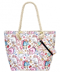 Flower Printed Canvas 2 in 1 Beach Tote FC00741