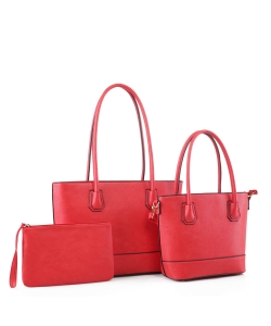 Fashion Faux Leather 3 in 1 Handbag FC19116 CORAL